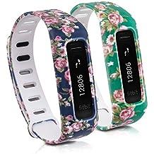 kwmobile 2in1 Set: 2x Sport Ersatzarmband für Fitbit One - Silikon Armband mit Verschluss ohne Tracker Rosenbündel Rosa Dunkelblau, Rosenbündel Rosa Grün - Innenmaße: ca. 12,5 - 20,4 cm