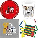 JT-Lizenzen Star Wars Forces 39-teiliges Kindergeburtstag Party Deko Set Basis Motto Fete Feier 8 Teller, 8 Becher, 20 Servietten, 3 Rollen Luftschlangen