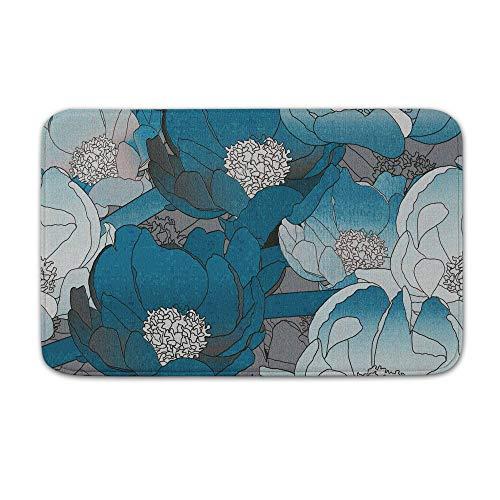 DKISEE Fußmatte für den Innen- und Außenbereich, Blumenmuster, Seryi Sinii, Flanell, 20