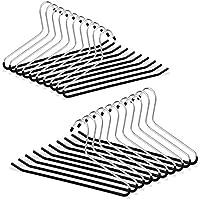 Relaxdays Hosenbügel 20er Set, rutschfest, Kleiderbügel für Hosen, gummiert aus Metall, platzsparend, Set, 35 cm, schwarz