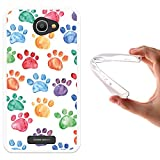 Alcatel Pop 4S Hülle, WoowCase Handyhülle Silikon für [ Alcatel Pop 4S ] Hund Fußabdruck Handytasche Handy Cover Case Schutzhülle Flexible TPU - Transparent