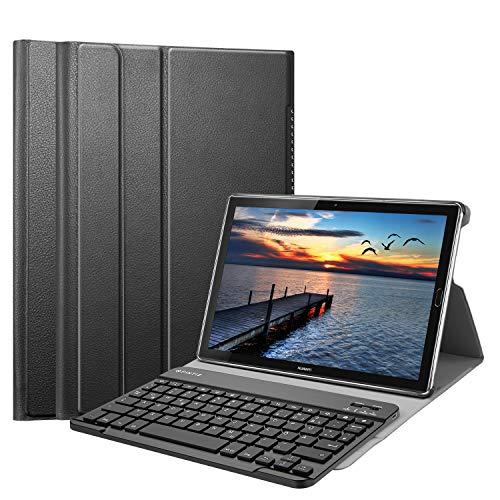 Fintie Huawei Mediapad M5 10.8/10.8 Pro QWERTZ Bluetooth Tastatur Hülle - Ständer Schutzhülle mit Magnetisch Abnehmbarer Drahtloser Deutscher Bluetooth Tastatur für Huawei M5 10,8 Zoll, Schwarz