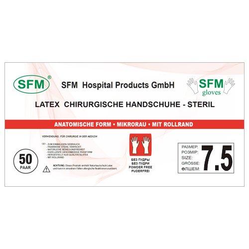 SFM OP Latex : 6.0, 6.5, 7.0, 7.5, 8.0, 8.5, 9.0 steril puderfrei texturiert chirurgische OP-Handschuhe Einmalhandschuhe Einweghandschuhe weiß 7.5 (50 Paare)