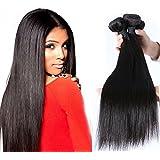 """Puddinghair 100% sin procesar extensiones virginales brasileñas del pelo humano 3 manojos negro natural Recto (30""""30""""30"""")"""