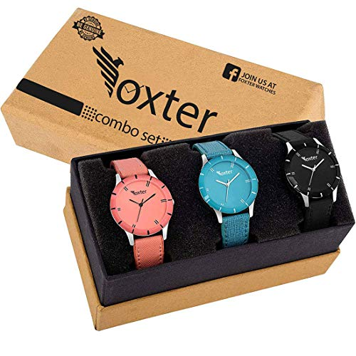 Foxter Three Analog Multi Color Dial Watches Combo for Women and Girls(605-Orng-Skblue-Blk)