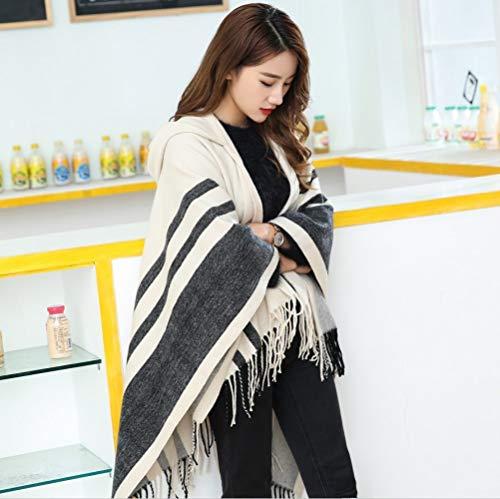 CLLCR Autumn Winter Women's Warm Sweater Scarf, Turtleneck Cape, Soft Cashmere Warm Hooded Warm Cape,Buff,One Size -