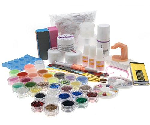 Kit de Manucure Ongle Gel UV Primaire de Poudre Acrylique Scintillement