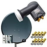 PremiumX Digital SAT Anlage 80 cm Stahl Schüssel Spiegel Antenne...