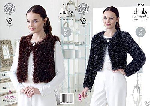 King Cole TINSEL Chunky Knitting Pattern Vee e Girocollo Cardigan-4442
