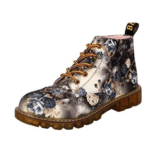 Siswong Lace Up Zapatos Suave Cuero Clásico Retro Martin Botas Mujer Estampada Flores Planas Invierno Moda (EU:34, Gris)