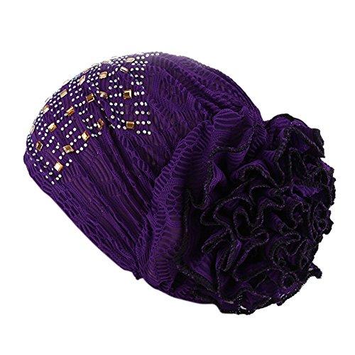 iShine Elegante Turban Elastische Frauen Kopftuch Damen Mütze mit Großen Blumen Muslim Hut für Haarausfall Krebs Chimio Lila (Damen Hut Mit Kreuz)