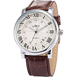 AMPM24 White Dial Mens Automatic Mechanical Date Brown Leather Wrist Watch + AMPM24 Gift Box PMW099
