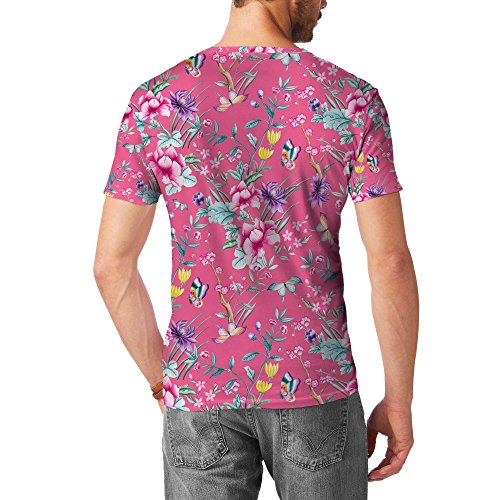 Floral Chinoiserie Mens Cotton Blend T-Shirt Herren Pink