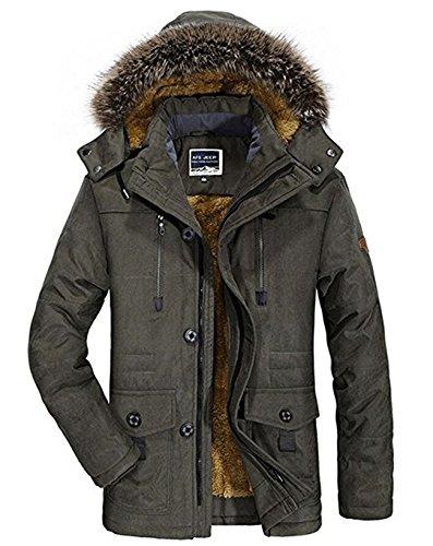 Winterjacke Herren Parka Gefüttert Baumwolle Mantel mit Pelzkragen Jacke Warm Outdoor Kapuzenjacke mit Fell, 03-Grün, Gr. XXL (Jacke Baumwolle)