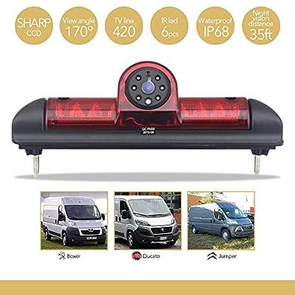 Auto-Dritte-Dach-Top-Mount-Bremsleuchte-Kamera-E-Mark-Zulassung-Bremslicht-Rckfahrkamera-fr-Citroen-JumperFIAT-DUCATO-X250-Peugeot-Boxer-70-Zoll-Monitor-TFT-Bildschirm-LKW-KFZ-LCD-Display