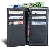 LUCA iPhone 6 / 6s Plus Tasche Nubuk schwarz Handmade in Germany Echtleder Tasche Etui für Ihr iPhone 6