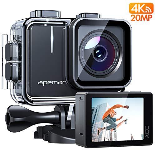 APEMAN Action Cam A100, Echte 4K/50fps WiFi 20MP Unterwasserkamera Digitale wasserdichte 40M Helmkamera (Extreme Video/Bildstabilisator, 2x1350mAh verbesserten Batterien)