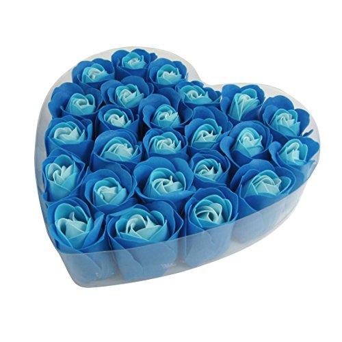 SODIAL(R) 24 x Savon de fleur de forme de Rose Bleu