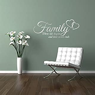FAMILY where life begins and love never ends, quote with entwined hearts wall art sticker decal words, SILVER (METALLIC), 58x23 cm