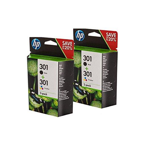 Original HP N9J72AE / 301, für Envy 5530 Series 4X Premium Drucker-Patrone, Schwarz, Cyan, Magenta, Gelb, 2x190, 2x165 Seiten - 2600 Series Hp Drucker-tinte