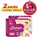 #5: Champs High Absorbent Premium Wonder Pant Style Diaper (Pack of 2)(Free 2-Pair Socks)| Premium Pant Diapers | Premium Diapers | diaper pants | diaper large size pants | diaper extra large size pants | diaper small size pants | diapers combo pack | (Large, 48)