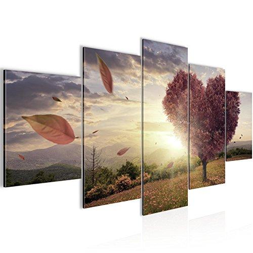 Top Der Rote Baum (Bilder Herbst Baum Herz Wandbild 200 x 100 cm Vlies - Leinwand Bild XXL Format Wandbilder Wohnzimmer Wohnung Deko Kunstdrucke Braun 5 Teilig -100% MADE IN GERMANY - Fertig zum Aufhängen 605851c)