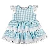 Babykleid Kleid Sommerkleid Landhausstil Stickerei hellblau weiß kariert Bavaria (74)