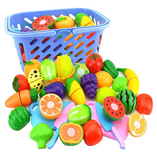 Bluelans Fruit Vegetable Food Cutting Set Reusable Role Play Pretend Kitchen Kids Toys for Kids Boys Girls Xmas Gifts Xmas Stocking Fillers Party Bag Gifts