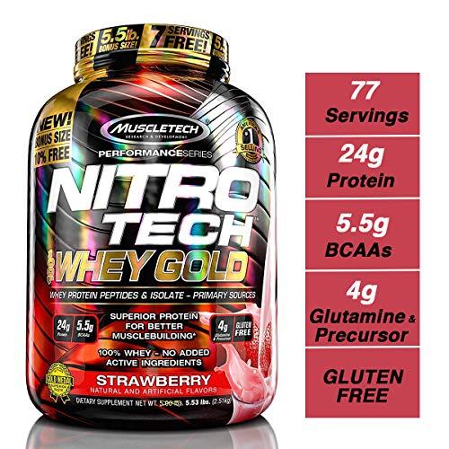 MuscleTech NitroTech 100% Whey Protein Sport Nahrungsergänzung, Erdbeere 2.51 g