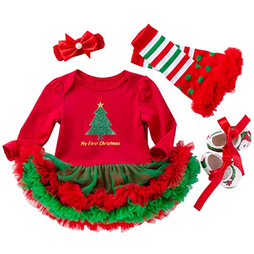 6c23007c7f925 Robe Bébé Enfants Filles Noël Barboteuse Coverall Manches Longues Tutu Robe  Père Noël (0-