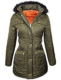 NEW PADDED Womens Fur HOODED WINTER COAT Ladies long WARM Jacket Size 8-16 Parka