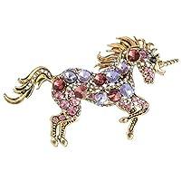 EVER FAITH Women's Austrian Crystal Running Unicorn Brooch