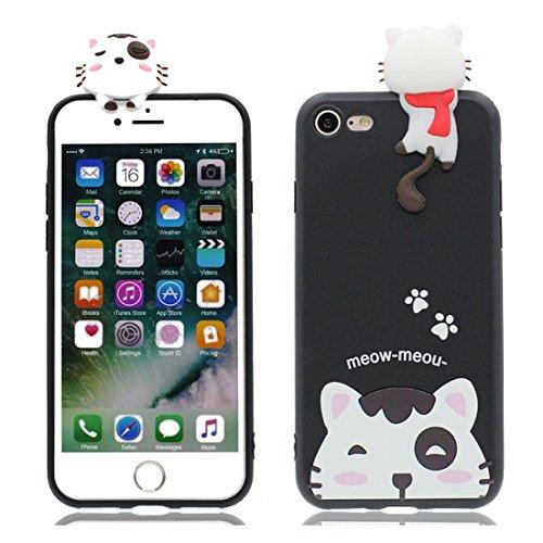 iPhone 6 copertura,iPhone 6S Case,Cassa molle del silicone molle della cassa dell paffuto panda del fumetto 3D per il iPhone 6 / iPhone 6S 4.7inch,bianca nero