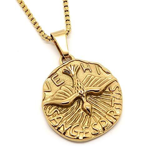 252f771988fe BOBIJOO Jewelry - Colgante Medalla Espíritu Santo Paloma Veni Sancte  Spiritus De Acero Chapado En Oro