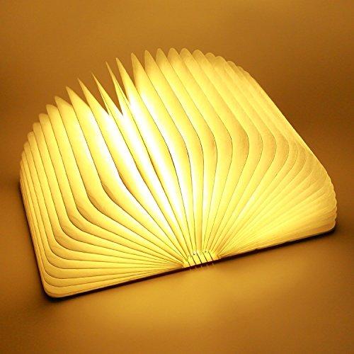 LED Buchlampe, Faltbare LED Nachtlicht, Dekorative Stimmungsbeleuchtung mit USB Wiederaufladen (Holz, Größe 21,4x 17x 2,3CM) -