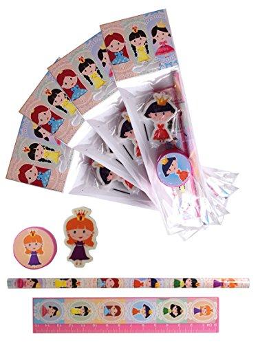 4 x Packungen Schreibset Design Prinzessin Kinder Schule Briefpapier Set.4 tlg. Bleistift, Spitzer,...