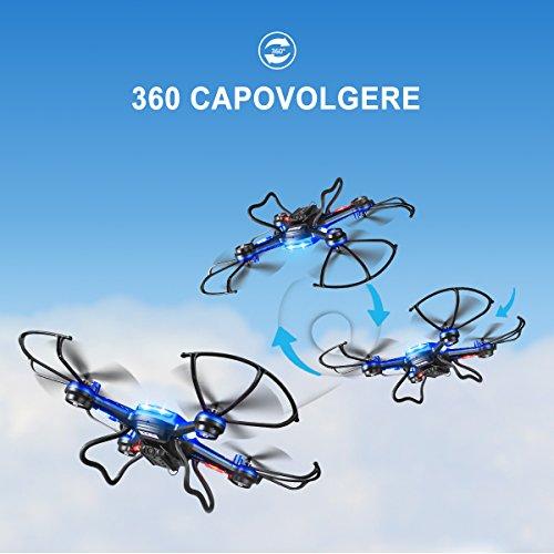 Potensic Drone con Fotocamera 720P HD Drone F181DH FPV LCD Monitore a Schermo con Funzione di Sospensione Altitudine, modalità Senza Testa, Allarme di Fuori Portata - 6