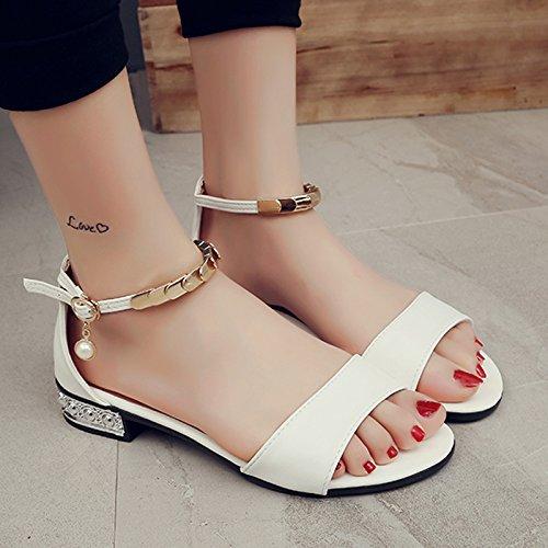 RUGAI-UE Sandalo donna estate punta di rugiada fondo piatto piccolo freschi Calzature Donna White