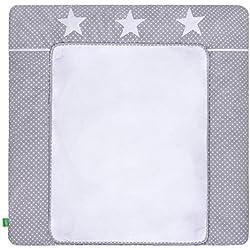 Cambiador LULANDO con 2sábanas extraíbles y resistentes al agua multicolor White Dots/Grey Stars Talla:75x80 cm