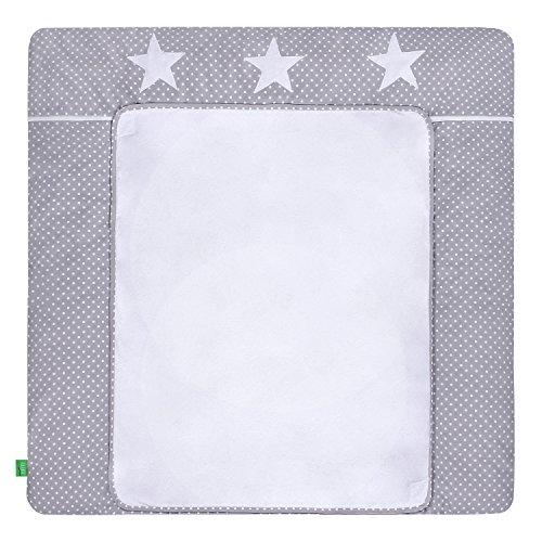 Preisvergleich Produktbild LULANDO Wickelauflage mit 2 abnehmbaren und wasserundurchlässigen Bezügen. 75 x 80 cm oder 75 x 85 cm. Oberstoff 100 % Baumwolle. Passend u.a. für die Kommode IKEA Malm oder Hemnes, Größe:75x85 cm, Farbe:White Dots / Grey Stars