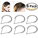 TINKSKY Haarreifen Stirnband Schwarz Gewelltes Metallband Haarband Haar Band Unisex mädchen Mann Kopf Band Zusatz 6 Stück