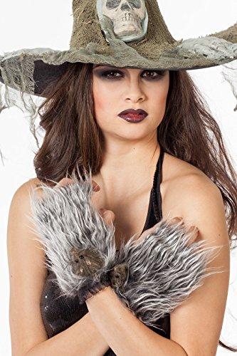 Fellhandschuhe Werwolf Plüschhandschuhe (Kostüm Ratte Halloween)