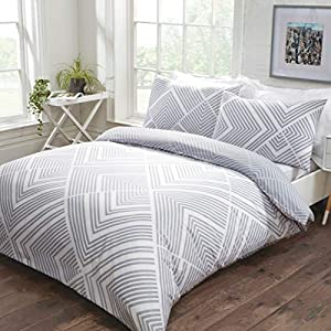 Sleepdown Striped Geometric Grey Reversible Easy Care Duvet Cover Quilt Bedding Set with Pillowcases - King (220cm x 230cm)