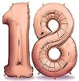 deloono Rose XXL Folienluftballons 100cm Riesige Heliumluftballons in Rose-Gold als Dekoration zum Geburtstag (Zahl 18)
