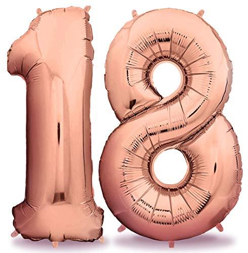 deloono Rose XXL Folienluftballons 100cm Riesige Heliumluftballons in Rose-Gold als Dekoration zum Geburtstag (Zahl 18) (Ballons Zum Geburtstag)