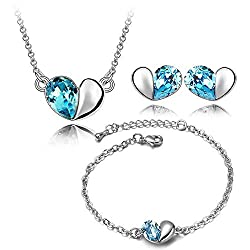 YouBella Jewellery Heart Shape Crystal Combo of Pendant Necklace Set, Bangle Bracelet and Fancy Party Wear Earrings for Girls and Women (Silver-Blue)