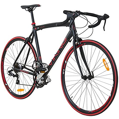 700C 28 Zoll Rennrad Viking Vuelta Sti 4 Rahmengrößen 2 Farben , Rahmengrösse:56 cm, Farbe:schwarz/rot