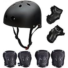 SymbolLife Conjunto de 6 protecciones y casco de protección para monopatín y patinaje, con coderas, rodilleras y muñequeras, para niños, ideal para montar en una bicicleta BMX, scooter o monopatín, tallas según el tamaño de la cabeza: S (55a57cm), M (58a60cm), L (61a63cm), color negro, tamaño mediano