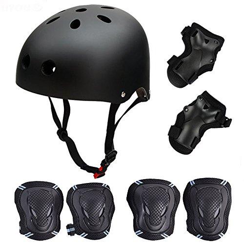Skateboard/Skate Protektoren Set mit Helmet - Skate Helmet Knie Pads Elbow Pads mit Handgelenkschoner für Skate, Skateboard, Roller Skate, BMX, Bike und Anderen Extreme Sports, S Schwarz