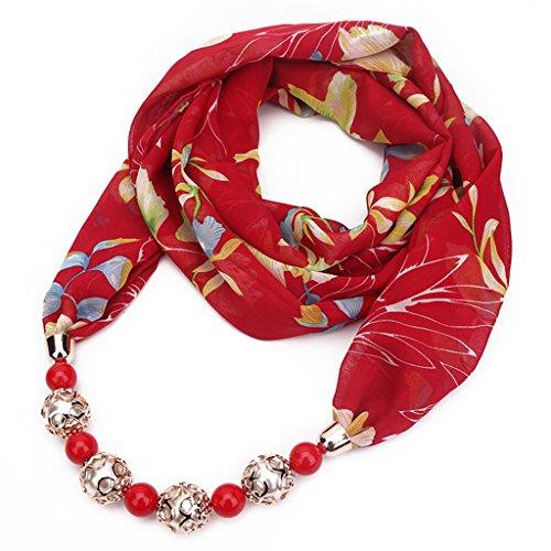 Zoomy donna stampa floreale sciarpa chiffon ciondolo collana gioielli headwrap hijab - rosso